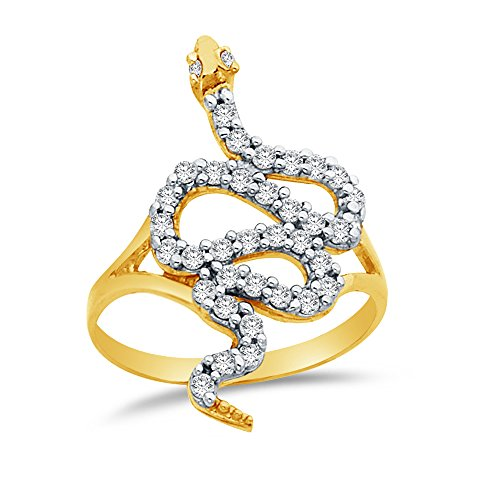 Size - 5.5 - 14k Yellow Gold Highest Quality CZ Cubic Zirconia Fancy Fashion Snake - Jewel Fancy