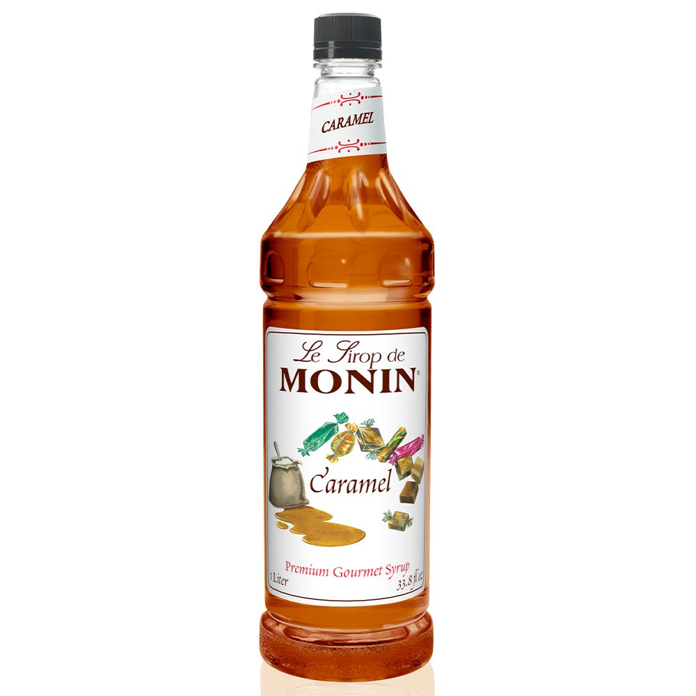 Monin - Caramel Syrup, Rich and Buttery, Great for Desserts, Coffee, and Cocktails, Gluten-Free, Non-GMO (1 Liter)