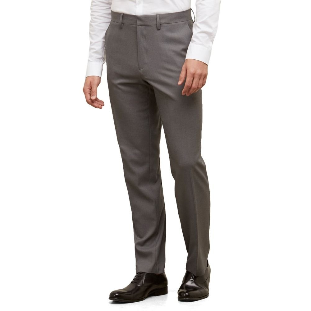 Kenneth Cole REACTION Men's Heather Stretch Modern Fit Flat Front Pant, Dark Grey, 36x32