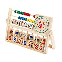 Lookvv Wooden Baby Toddler Toy Circle First Bead Maze Shape Sorter Counting Cubes Educational Toy for Boy Girl