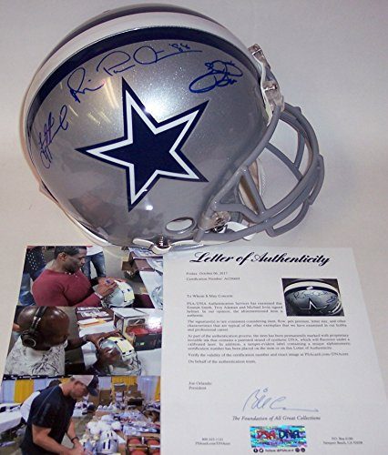 Emmitt Smith Hand Signed - Emmitt Smith, Troy Aikman, Michael Irvin - Triplets - Autographed Hand Signed Dallas Cowboys Full Size Authentic Football Helmet - PSA/DNA