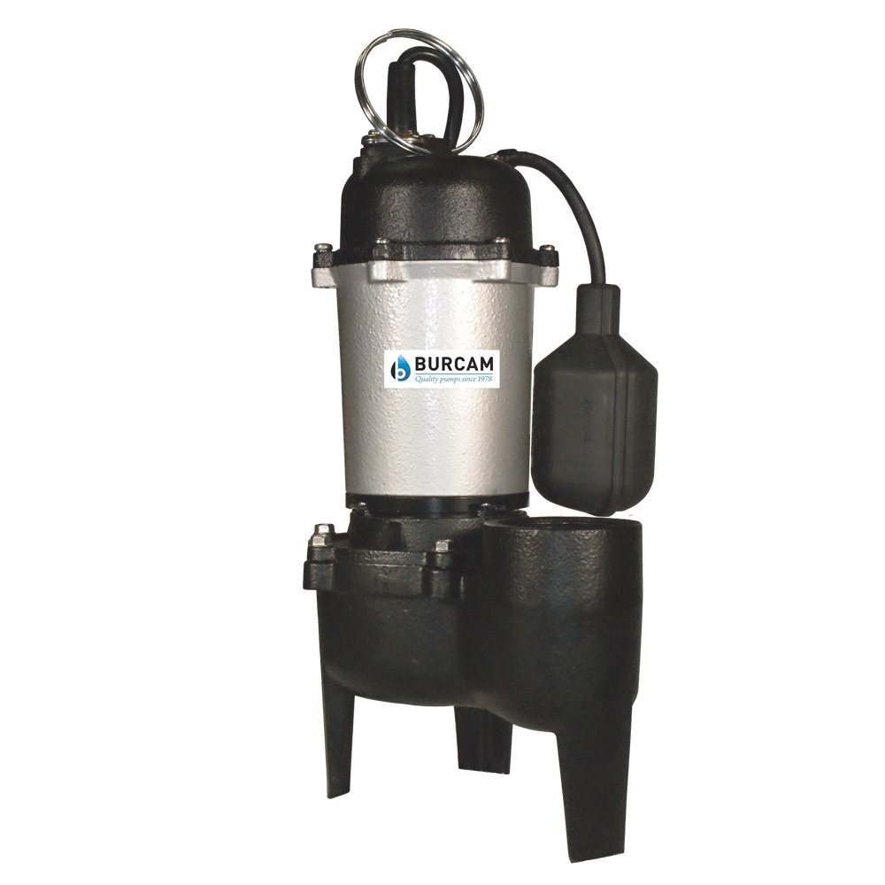 BURCAM 400504Z 1/2 HP Cast Iron Sewage Pump, Black by Bur-Cam