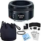 Canon EF 50mm f/1.8 STM Prime Lens w/ Accessory Bundle includes Lens, Lens Pouch, 49mm UV Filter, Memory Card Wallet, Card Reader, Screen Protectors Cleaning Kit and Microfiber Cloth