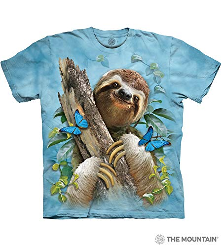 - The Mountain Sloth & Butterflies Adult T-Shirt, Blue, Small