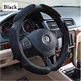 Yiizy Automotive Interior Accessories 38cm Emboss Top Leather & Thick Nylon Interior Steering Wheel Cover Case Ring Soft Fit Breathable Steering Wheel Wrap (Black)