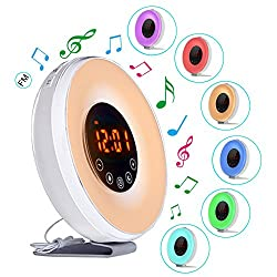 Wake Up Light Sunrise Alarm Clock with 7 Colors Led Lights ,6 Alarm Sounds, FM Radio and Snooze Function for Heavy Sleepers