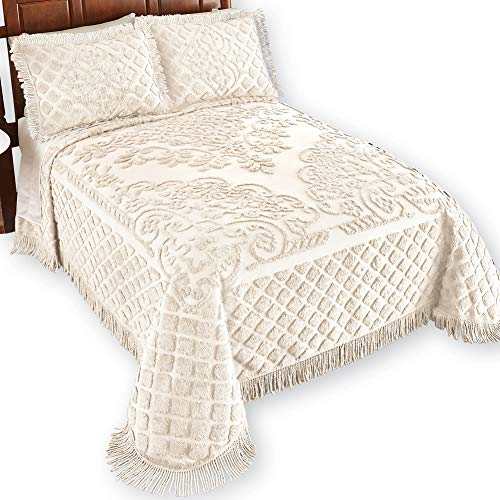 Royalty Elegant Scroll and Checkered Pattern Chenille Bedspread with Fringe Border, Ivory, Queen