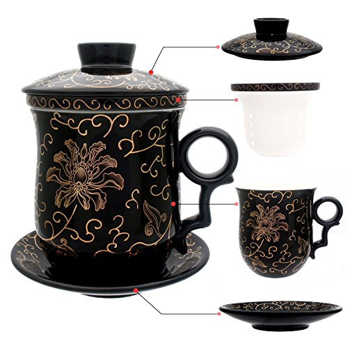 Tea Talent Porcelain Tea Cup with Infuser Lid and Saucer Sets - Chinese Jingdezhen Ceramics Coffee Mug Teacup Loose Leaf Tea Brewing System for Home Office