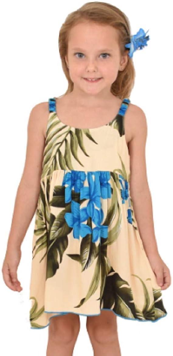 Aloha Elastic Dress Girl Summer Beach Hawaiian Cruise Luau Floral Classic Blue