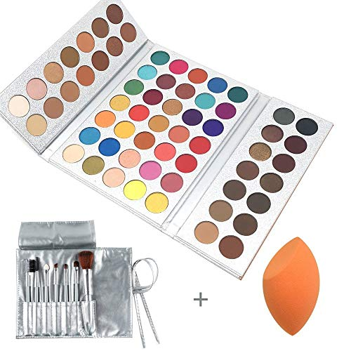 Beauty Glazed Make Up Palettes 63 Shades Eyeshadow Pigmented Matte Colors Long Stay On Soft and Smooth + Powder Sponge Blender + Make Up Brushes Set by Beauty Glazed (Image #6)