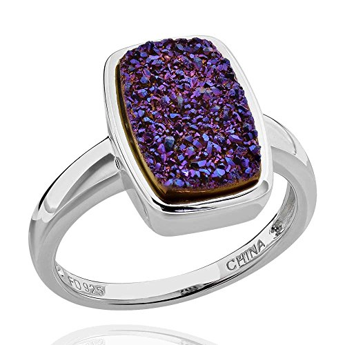 Sterling Silver Rectangular Druzy Solitaire Ring Sz 9