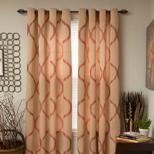 Lavish Home Metallic Grommet Curtain Panels, 84-Inch, Apricot