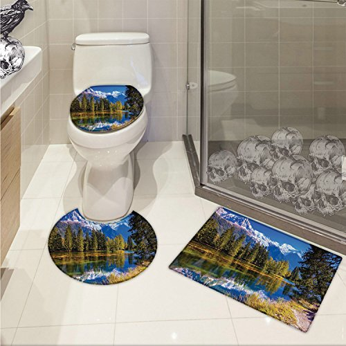 Paradise 3 Piece - jwchijimwyc Mountain Printed Snow Covered Alps Peaks Covered with Fir Trees in Lake Natural Paradise 3 Piece Toilet Cover set Green White Blue