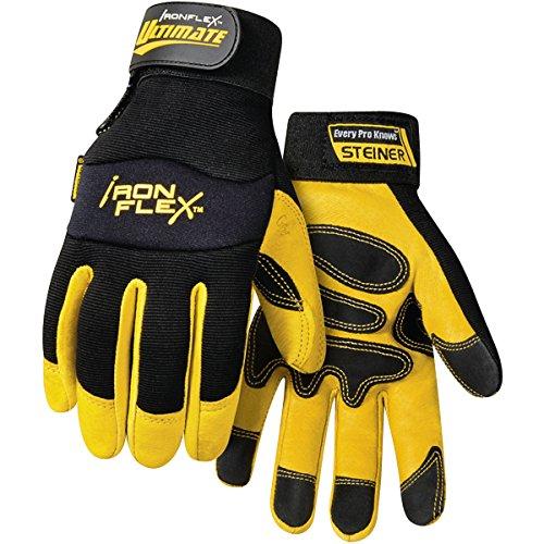 Steiner 0912-L Ironflex Work Gloves, Ultimate Pigskin Black Spandex,