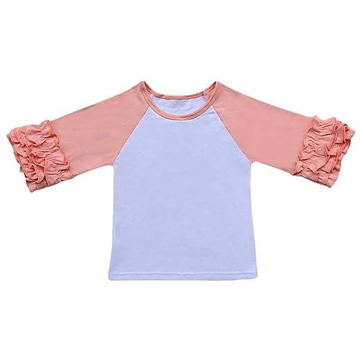 bcbd733166d Toddler Little Girls 3 4 Sleeves Icing Ruffle Shirts Kids Baby Raglan  Baseball T-