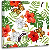 Emvency Canvas Wall Art Print Tropical Bright Summer Beautiful Pattern Hibiscus Flowers Butterflies Artwork for Home Decor 12 x 12 Inches