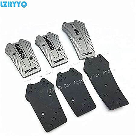 Tamaha 3Pcs Momo Style Universal Nero Car Racing Pedals Black//Silver Aluminium Non Slip Sport Pedal Brake Pad Covers Manual Car