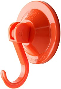 NL HOME Powerful Suction Cup Hooks, 4-Pack Vacuum Shower Suction Hooks for Home Kitchen Bathroom, Orange