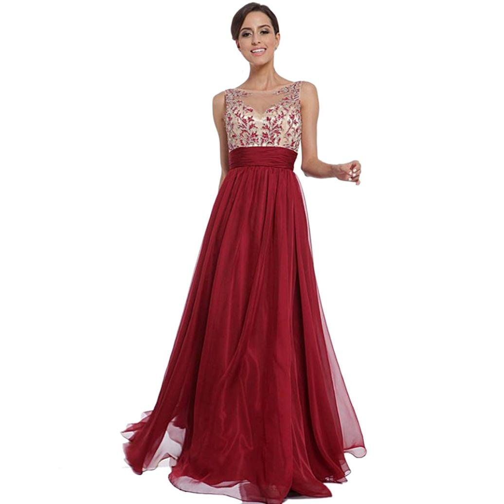 haoricu Women Dress, Sexy Women Floral Long Backless Formal Party Wedding Dress (L, Red)