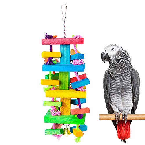 DONO Parrot Knots Blocks Chew Wooden Toys for Parakeets Pure Natural Knots with Multiple Colors, Small Bird