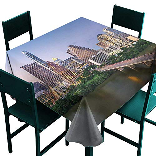 Warm Family Modern Polyester Tablecloth Austin Texas American City Bridge Over The Lake Skyscrapers USA Downtown Picture Great for Buffet Table W36 x L36 -