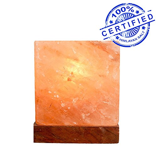 Natural Himalayan Salt Lamp Cube Hand Crafted by Ambient Authentic Natural Crystal Salt Rock with UL Listed Dimmer Switch