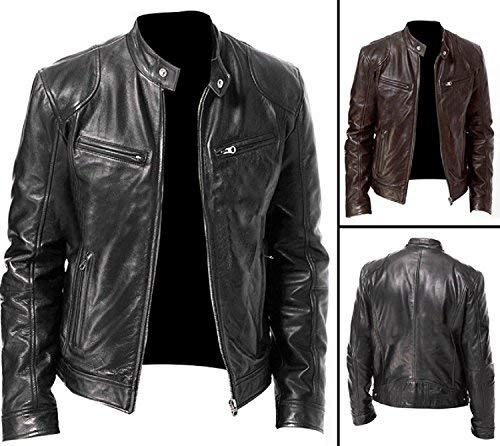 Vintage Cafe Racer Black & Brown Retro Biker Unisex Genuine Leather Jacket