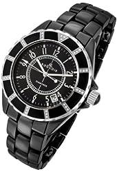 Rougois Women's High Tech Black Ceramic Watch with 36 Genuine Diamonds