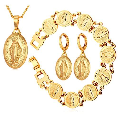 U7 Virgin Mary Necklace Lady of Graces Jewelry 18KGP Stamp Pendant Bracelet Earrings Jewelry Set