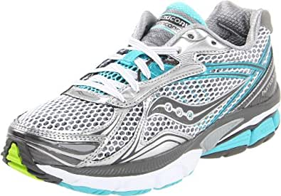 Saucony Women's Powergrid Hurricane 14 Running Shoe,White/Grey/Aqua,5 M US