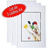 Lot de 3 cadres photo A4 Blanc (21x29.7 cm) - Cadre photo en résine avec vitre en verre de protection - Livré avec pied chevalet et crochets pour fixation au mur. Idéal pour photo, diplômes, publicité....