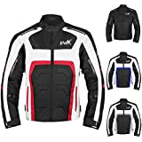 Textile Motorcycle Jacket Motorbike Jacket Breathable CE ARMORED WATERPROOF (XXXX-Large, Red)