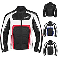 Textile Motorcycle Jacket For Men Dualsport Enduro Motorbike Biker Riding Jacket Breathable CE ARMORED WATERPROOF (Red, M)