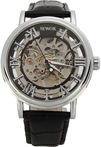 SEWOR men's mechanical skeleton transparent vintage style leather wrist watch for men