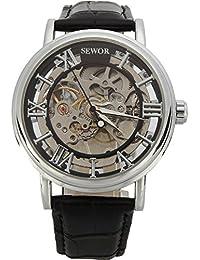 Men's Mechanical Skeleton Transparent Vintage Style Leather Wrist Watch (BLACK)