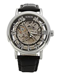 Sewor Men's Steampunk Mechanical Analog Watch Silver C849