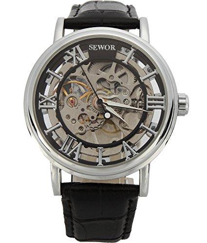 SEWOR Men's Mechanical Skeleton Transparent Vintage Style Leather Wrist Watch (Black)
