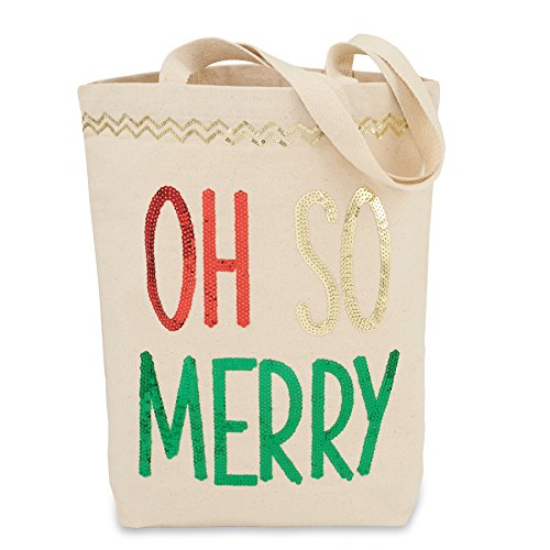 Mud Pie Christmas Canvas Tote Sequined Oh So Merry
