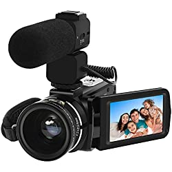Video Camera, LAKASARA Full HD 1080P 30FPS WIFI Camera Camcorder DVR with External Microphone and Wide Angle Lens