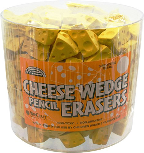 Tub Eraser - WinCraft Cheese Wedge Pencil Erasers Tub of 200