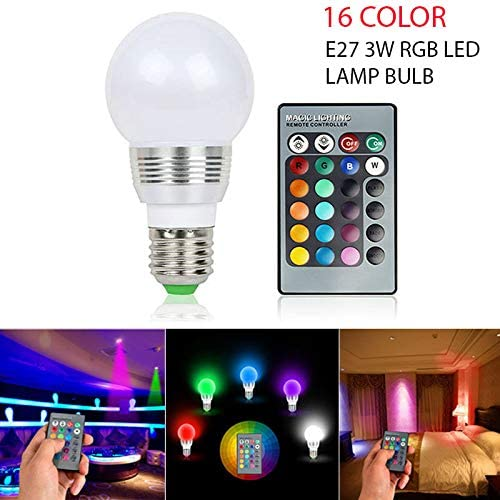 Shop Wireless Remote Control Perfect for Your Home 16 Color Durable Changing Magic Light E27 3W RGB LED Lamp Bulb Bar Club Or Restaurant