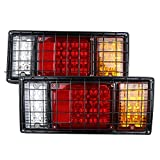 camper brake light - 40 LED Trailer Truck Tail Lights Bar High Brightness With 5-WIRE Connection for Negative Turn Signal Brake Light Running Light and Reverse Light Durable Tail Light With Iron Net protection (2PCS)