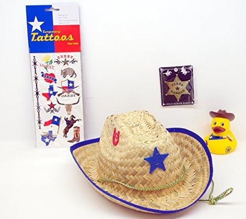 (Texas Child's Sheriff Cowboy Hat, Ranger Badge, Temporary Tattoos & Cowboy Rubber Ducky Bundled! Red)