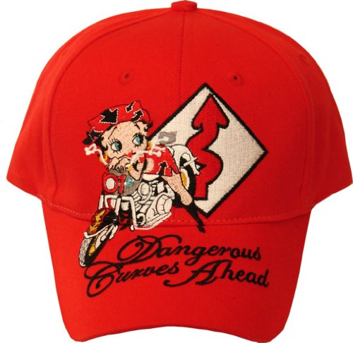 Licensed Adult Betty Boop Biker Danger Curves Ahead Cap One Size ()