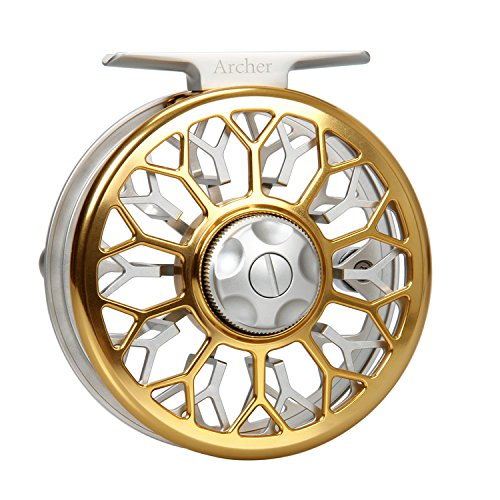 AnglerDream Archer Fly Fishing Reel Fly Reel Spare Spool with Large Arbor CNC Machined Aluminum Alloy Body Smooth Fly Reel 3/4 5/6 7/8WT (Black, Gold, Silver) -