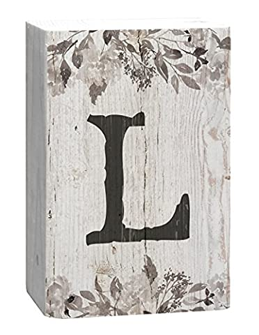 Letter L Floral White Distressed 4 x 5 Inch Solid Pine Wood Monogram Barnhouse Block Tabletop Sign - Sign Blocks Decor