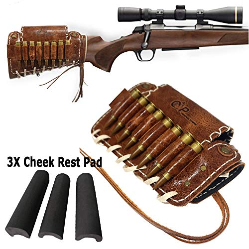 ORIGINAL POWER Leather Rifle Buttstock Ammo Holder with Cheek Rest Pad, Cartridge Shell Holder, Adjustable Rifle Butt Cuff (Marlin 30 30 Stock)