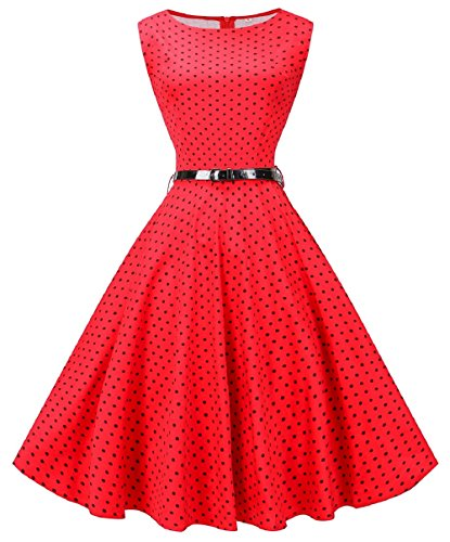 - Fedie Women Boatneck Sleeveless Vintage Tea Cocktail Dress with Belt, 3X, Small Dot Red