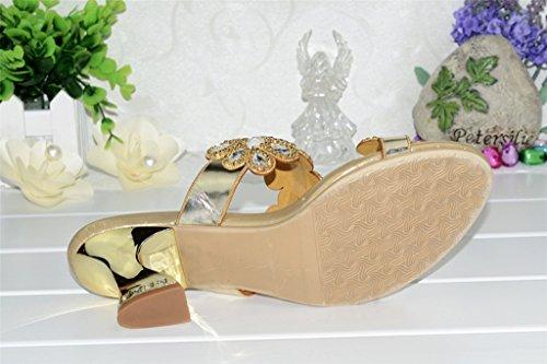 Crc Womens Dolce Floreale Scintilla Strass In Pelle Prom Oro Sandali Pantofole Da Sposa