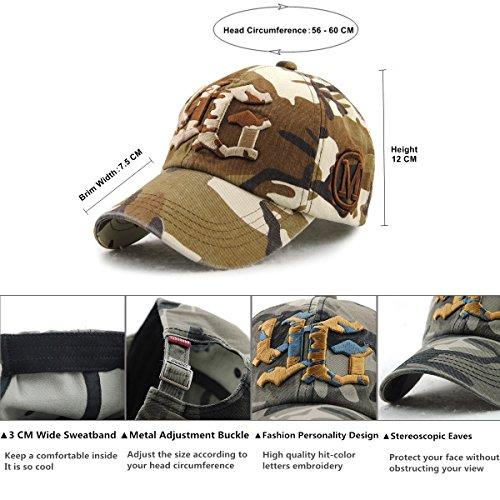 Clásico Ajustable Gorras béisbol Bordado Hip Cap Mujer Beisbol Camuflaje Gorra Hop Hombre de Hat A Gorras Snapback Café Gorra Algodón Yooeen Militar de 4zqdwxEXX